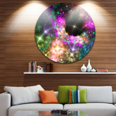 Design Art Pink Cosmic Black Hole Abstract Art onRound Circle Metal Wall Art Panel