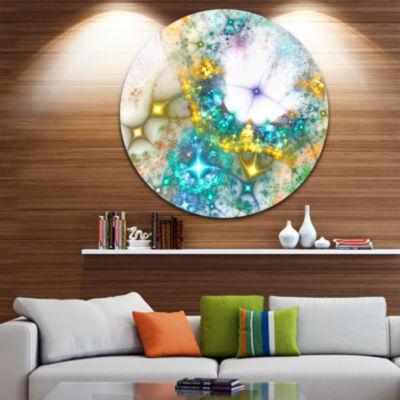 Design Art Blue Cosmic Black Hole. Abstract Art onRound Circle Metal Wall Art Panel