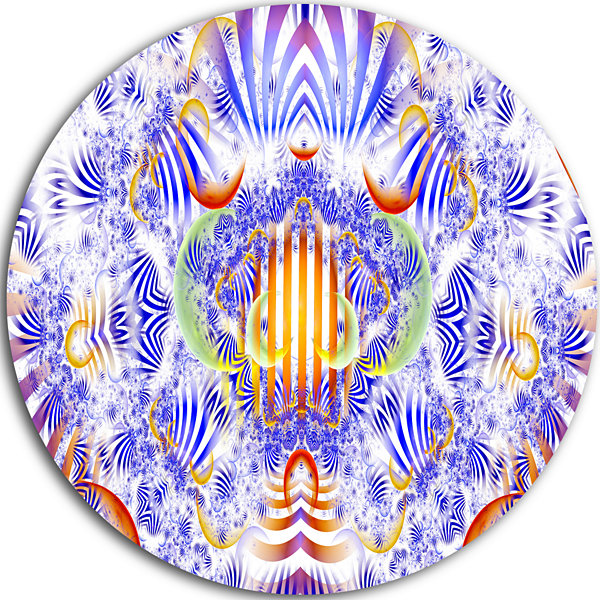 Design Art Magical Fairy Pattern Blue Abstract Arton Round Circle Metal Wall Art Panel