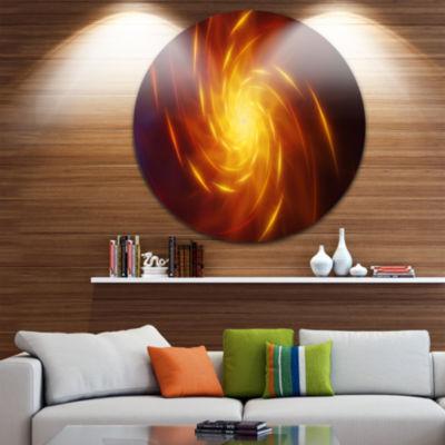 Design Art Yellow Whirlpool Fractal Spirals Abstract Art on Round Circle Metal Wall Art Panel
