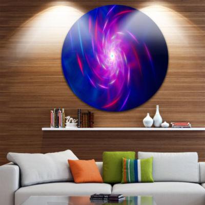 Design Art Blue Whirlpool Fractal Spirals AbstractArt on Round Circle Metal Wall Art Panel