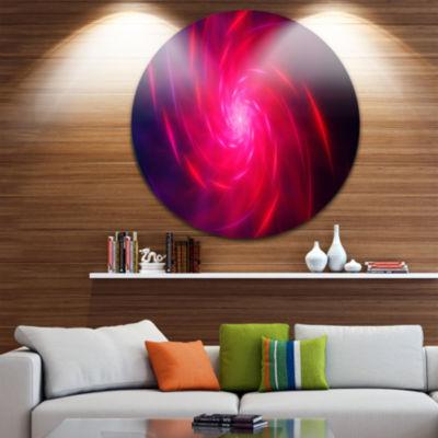 Design Art Pink Whirlpool Fractal Spirals AbstractArt on Round Circle Metal Wall Art Panel