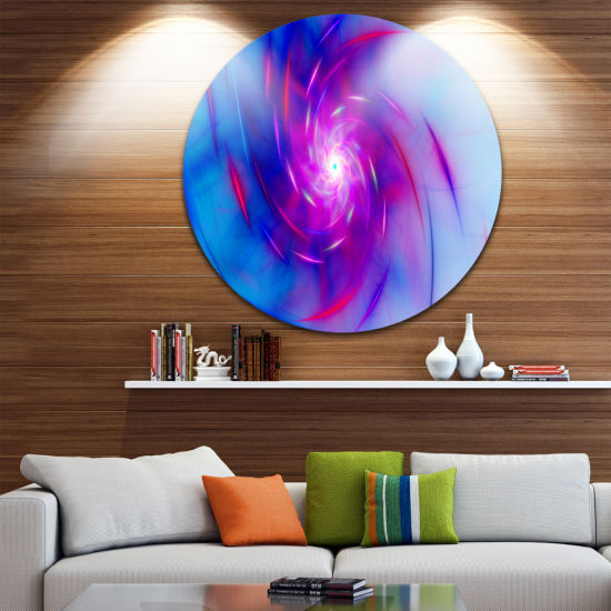 Design Art Turquoise Whirlpool Fractal Spirals Abstract Art on Round Circle Metal Wall Art Panel