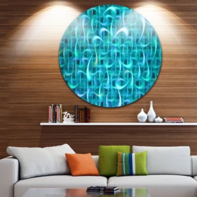 Design Art Turquoise Watercolor Fractal Pattern Abstract Art on Round Circle Metal Wall Art Panel