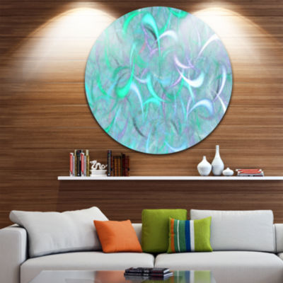 Design Art Blue Watercolor Fractal Pattern Abstract Art on Round Circle Metal Wall Art Panel
