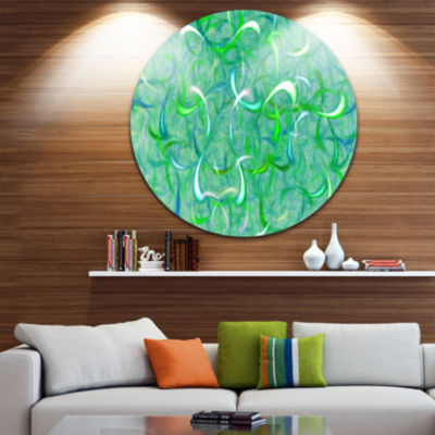 Design Art Green Watercolor Fractal Pattern Abstract Art on Round Circle Metal Wall Art Panel
