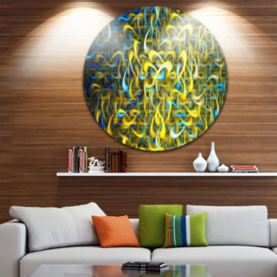 Design Art Golden Watercolor Fractal Pattern Abstract Art on Round Circle Metal Wall Art Panel