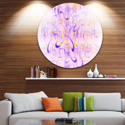 Design Art Light Purple Watercolor Fractal Art Abstract Art on Round Circle Metal Wall Art Panel