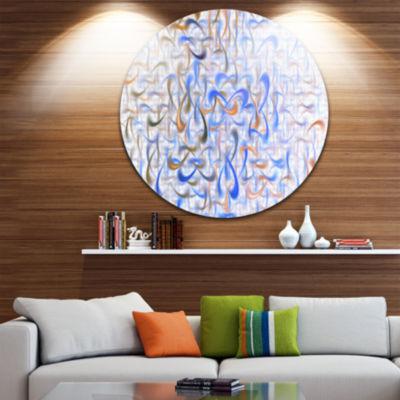 Design Art Light Blue Watercolor Fractal Art Abstract Art on Round Circle Metal Wall Art Panel