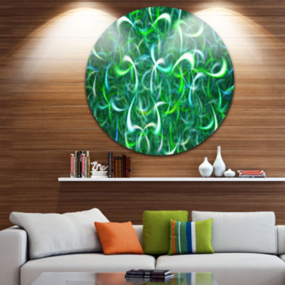 Design Art Dark Green Watercolor Fractal Art Abstract Art on Round Circle Metal Wall Art Panel