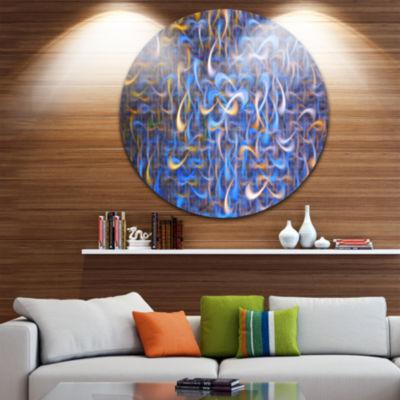 Design Art Blue Golden Watercolor Fractal Art Abstract Art on Round Circle Metal Wall Art Panel