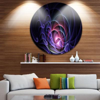 Design Art Blue 3D Surreal Fractal Design AbstractArt on Round Circle Metal Wall Art Panel