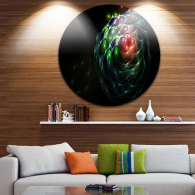 Design Art Green 3D Surreal Fractal Design Abstract Art on Round Circle Metal Wall Art Panel
