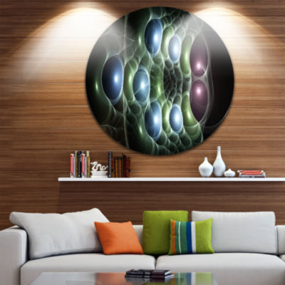 Design Art Light Blue 3D Surreal Circles AbstractArt on Round Circle Metal Wall Art Panel