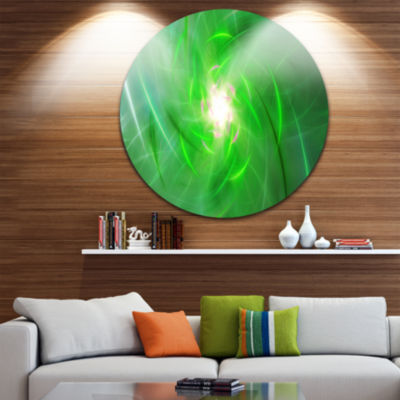Design Art Light Green Fractal Whirlpool AbstractRound Circle Metal Wall Art Panel