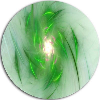 Design Art Green on White Fractal Whirlpool Abstract Round Circle Metal Wall Art Panel