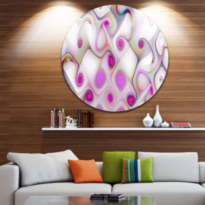 Design Art Pink Fractal Pattern with Swirls Abstract Round Circle Metal Wall Art