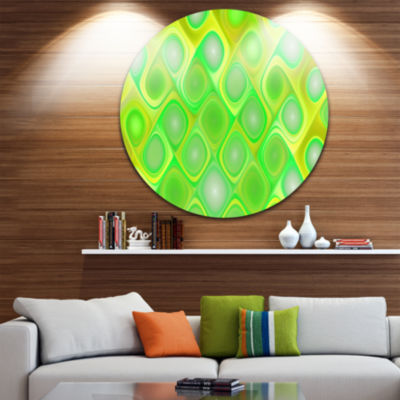 Design Art Green Fractal Pattern with Swirls Abstract Round Circle Metal Wall Art Panel