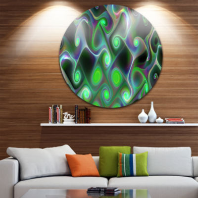 Design Art Dark Green Fractal Swirls Abstract Round Circle Metal Wall Art Panel