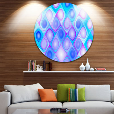 Design Art Dense Blue Pattern with Swirls AbstractRound Circle Metal Wall Art Panel