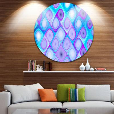 Design Art Blue Purple Pattern with Swirls Abstract Round Circle Metal Wall Art Panel