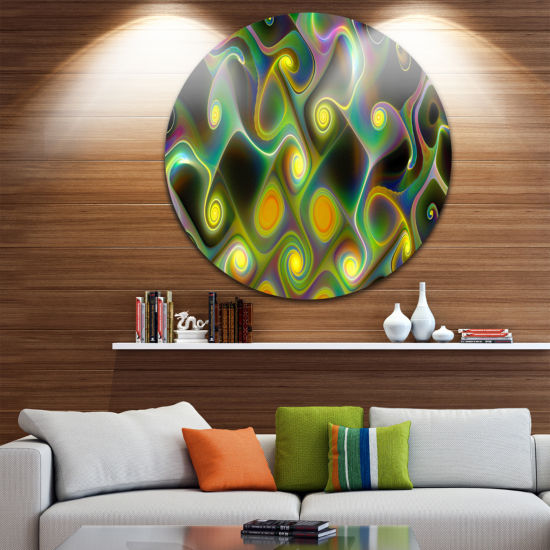 Design Art Yellow Fractal Pattern with Swirls Abstract Round Circle Metal Wall Art Panel