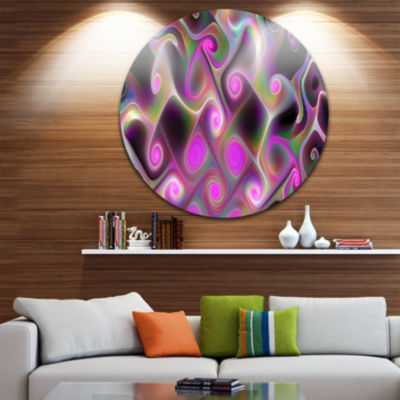 Design Art Pink Fractal Pattern with Swirls Abstract Round Circle Metal Wall Art Panel