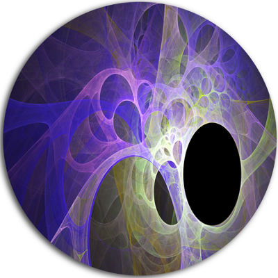 Design Art Blue Fractal Angel Wings Abstract RoundCircle Metal Wall Art Panel