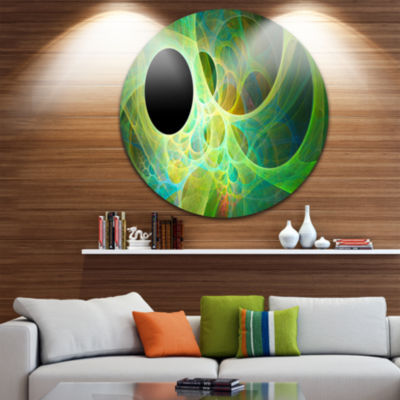 Design Art Green Fractal Angel Wings Abstract Round Circle Metal Wall Art Panel