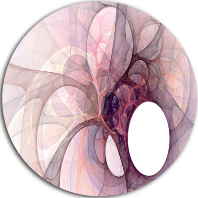 Design Art Light Purple Fractal Angel Wings Abstract Round Circle Metal Wall Art Panel