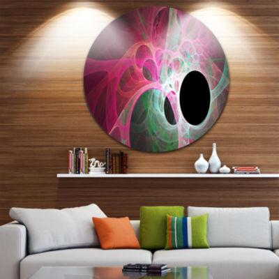 Design Art Pink Fractal Angel Wings Abstract RoundCircle Metal Wall Art Panel