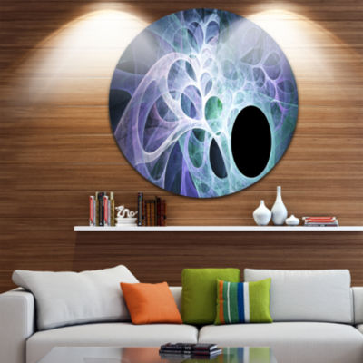 Design Art Light Blue Fractal Angel Wings AbstractRound Circle Metal Wall Art Panel