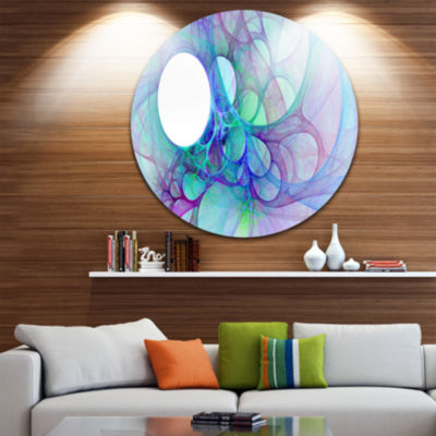 Design Art Clear Blue Fractal Angel Wings AbstractRound Circle Metal Wall Art Panel