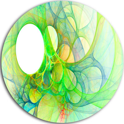 Design Art Fractal Angel Wings in Green Abstract Round Circle Metal Wall Art Panel