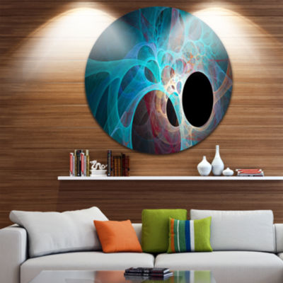 Design Art Fractal Angel Wings in Blue Abstract Round Circle Metal Wall Art Panel