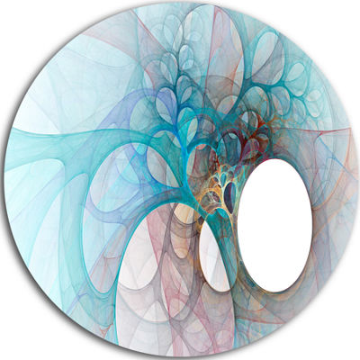 Design Art Fractal Angel Wings in Light Blue Abstract Round Circle Metal Wall Art Panel