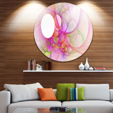 Design Art Light Pink Angel Wings on White Abstract Round Circle Metal Wall Art Panel