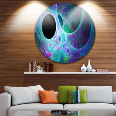 Design Art Blue Angel Wings on Black Abstract Round Circle Metal Wall Art Panel
