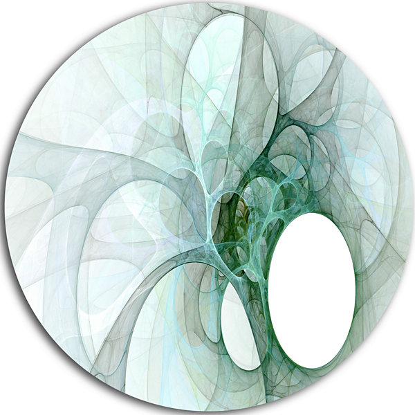 Design Art White Fractal Angel Wings Abstract Round Circle Metal Wall Art Panel