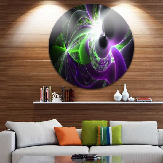 Design Art Glowing Purple Green Plasma Abstract Round Circle Metal Wall Art Panel