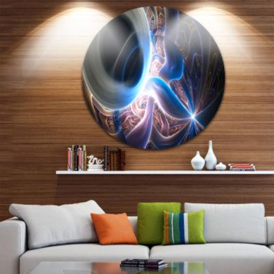 Design Art Glowing Blue Silver Plasma Abstract Round Circle Metal Wall Art Panel