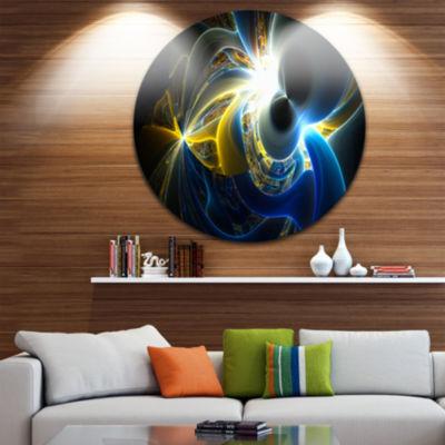 Design Art Glowing Blue Yellow Plasma Abstract Round Circle Metal Wall Art Panel