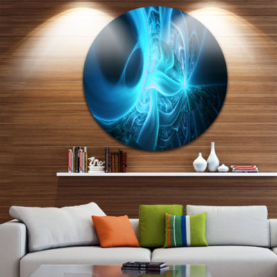 Design Art Shining Bright Blue on Black Abstract Round Circle Metal Wall Art Panel