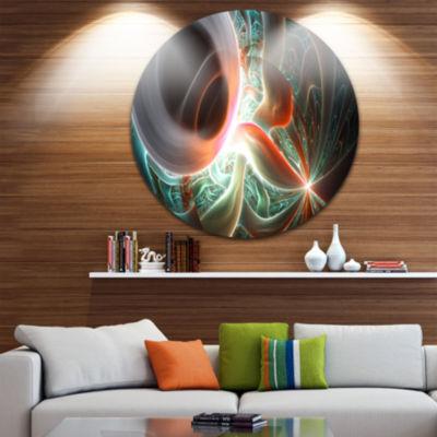 Design Art Shining Brown Silver on Black AbstractRound Circle Metal Wall Art Panel