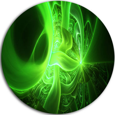 Design Art Bright Green Designs on Black AbstractRound Circle Metal Wall Art Panel