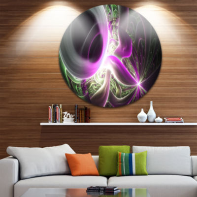 Design Art Light Purple Designs on Black AbstractRound Circle Metal Wall Art Panel