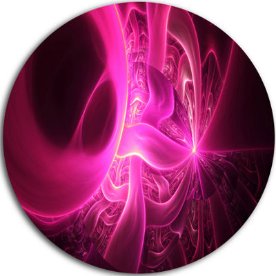 Design Art Bright Pink Designs on Black Abstract Round Circle Metal Wall Art Panel