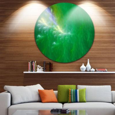 Design Art Green Fractal Thunder Sky Abstract Round Circle Metal Wall Art Panel