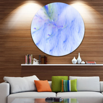 Design Art Light Blue Veins of Marble Abstract Round Circle Metal Wall Art Panel