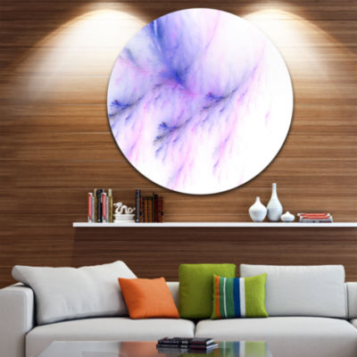 Design Art Bright Blue Veins of Marble Abstract Round Circle Metal Wall Art Panel